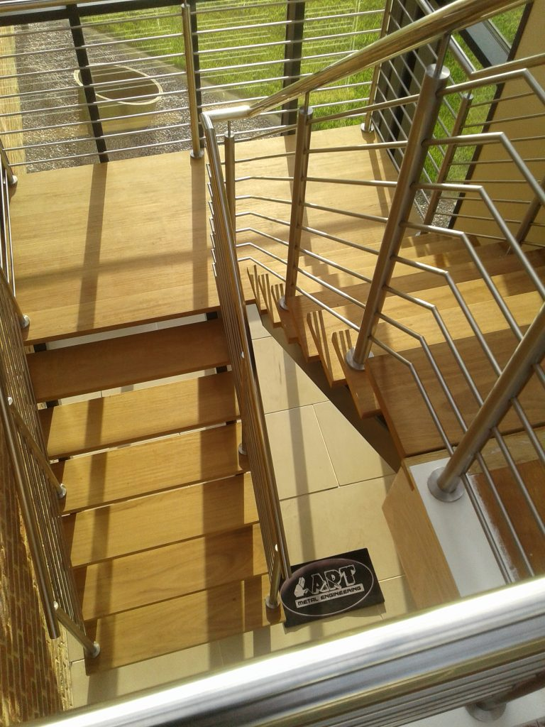 chrome staircase balustrade handrail quality staircases by Art Metal Engineering UK Lincolnshire example photo picture