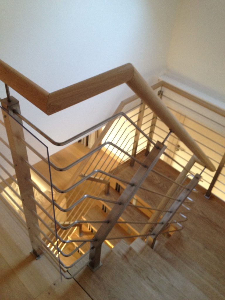 Glass metal wood oak stainless steel handrail balustrade screen panel boss step quality staircases by Art Metal Engineering