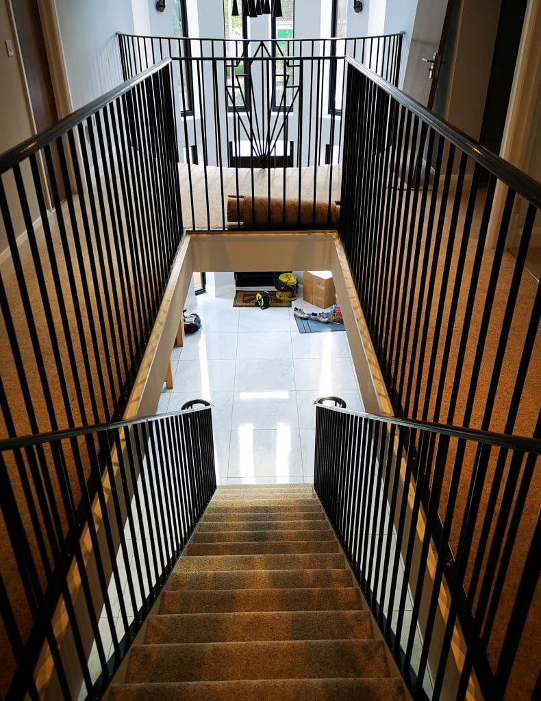 Art Deco themed residential house staircase luxurious Stamford installation supplier design UK