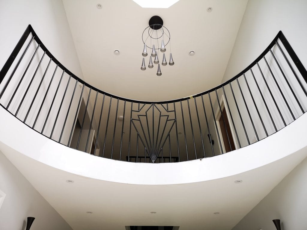 galleried landing art deco handrail quality staircases by Art Metal Engineering Stamford Lincolnshire UK