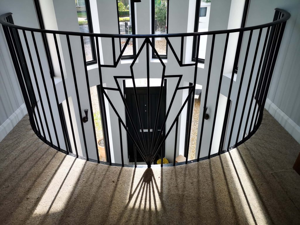 Art Deco Galleried landing staircase handrail installed by Quality Staircases UK lincolnshire www.qualitystaircases.co.uk